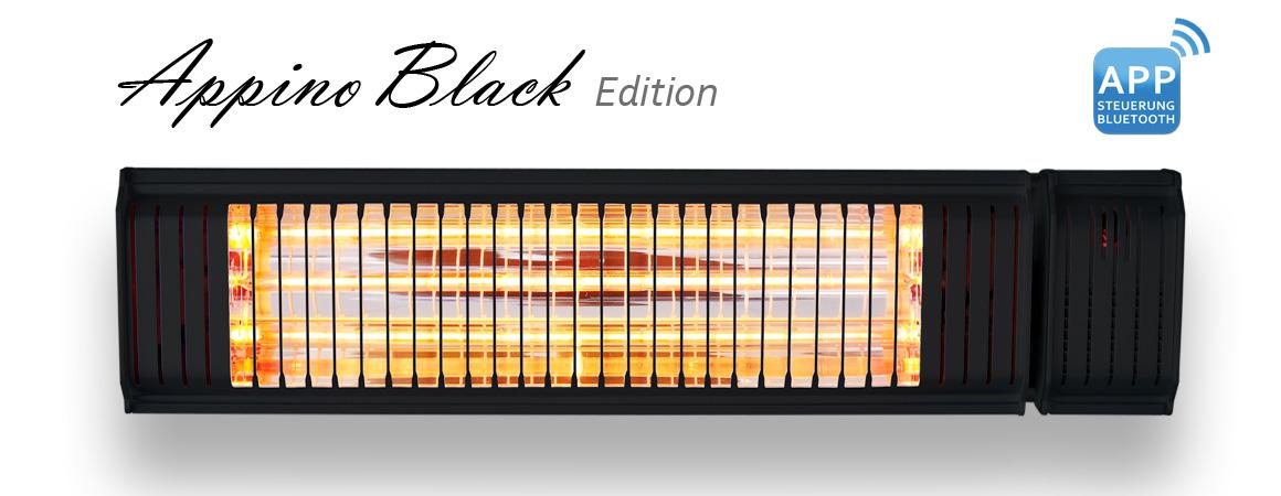 Der schwarz designte Infrarotstrahler Appino 20 Black Edition von VASNER. Mit App Steuerung.