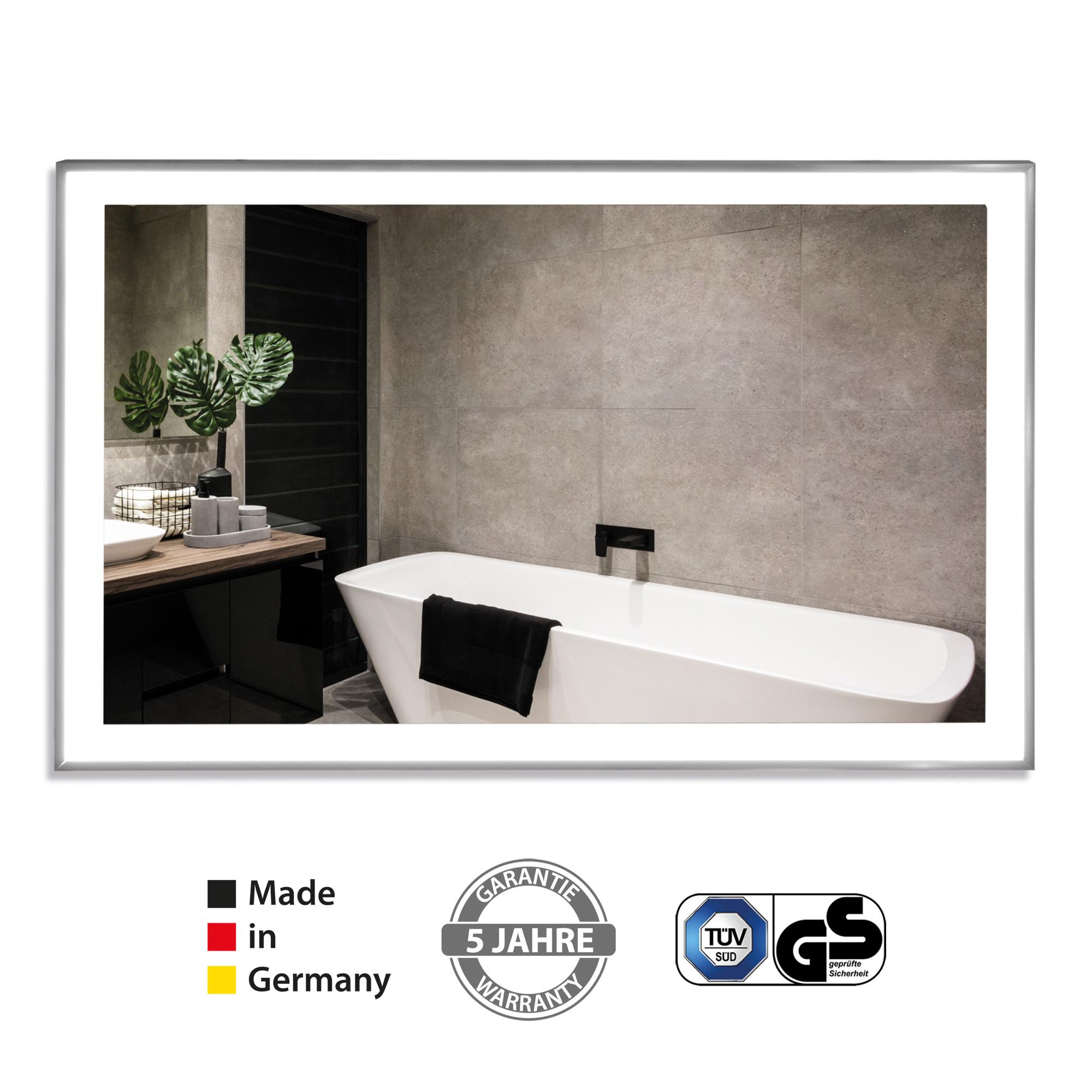 VASNER-Zipris-S-LED-Spiegel-Infrarotheizung-Licht-Titan-Rahmen Stilvolle Spiegel Mit Integrierter Beleuchtung Dekorationen
